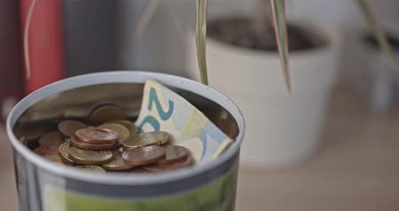 verrine : Piggy bank with coins and notes close-up Vidéos Libres De Droits