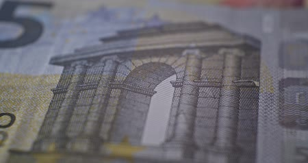 5 euro banknote details close-up EUR currency