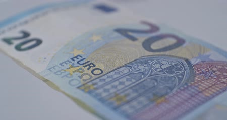20 euro banknote close-up EUR currency Stock mozgókép