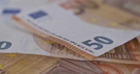eur : 50 euro banknote details close-up EUR currency Dostupné videozáznamy