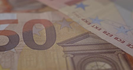 50 euro banknote details close-up EUR currency Stock mozgókép