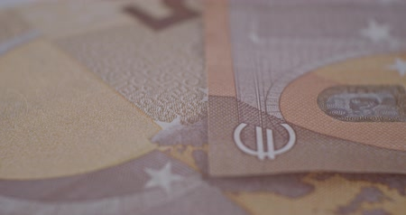 cartão de crédito : 50 euro banknote details close-up EUR currency Stock Footage