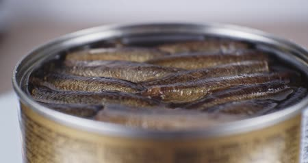 укроп : Smoked sprats in oil close up Стоковые видеозаписи