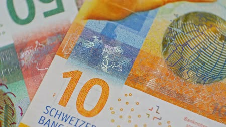 yirmi : CHF 10 close up, swiss francs, Switzerland Stok Video