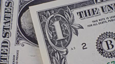 us banknotes : 1 USD currency details close up