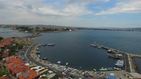 bulgarije : Luchtfoto, Nesebar, Bulgarije Stockvideo
