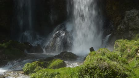 lower part : Lower part of Gostilje waterfall, on Zlatibor Mountain, where the water smashes on the rocks, creating lots of water spray Stock Footage