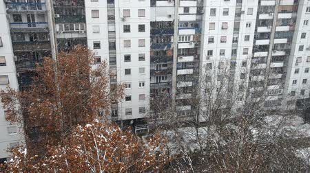 High angle view on an access to a building during a snowfall Stock Footage