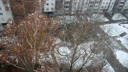 High angle view of a public park in front of a building during snowfall