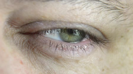 Close-up footage of a mans eye, which is moving, blinking and showing different emotions. No camera movement. Stock Footage