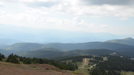 Panning shot of a landscape from highest peak of Kopaonik mountain, Serbia