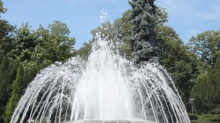 banja : Fountain water jets changing shapes of spraying in public park in Vrnjacka Banja, Serbia. Stock Footage