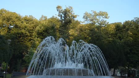 Fountain in a public park in Vrnjacka Banja, Serbia, changing shapes of spraying water, early in the morning