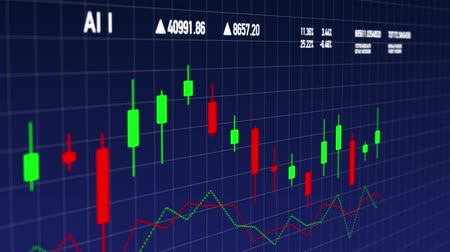подсвечник : Candlestick stock financial data developing over time - side view Стоковые видеозаписи