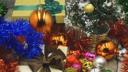 Close up of decorated Christmas tree with gifts
