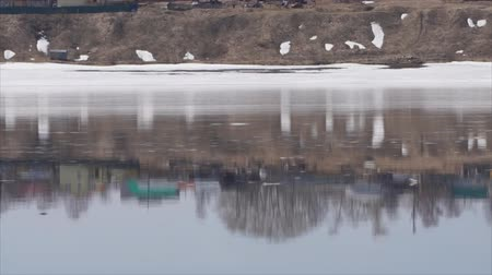 oluklu : river whirlpools in a fast flow. Footage of fast flowing muddy water. Early spring, icicles hang on small branches.
