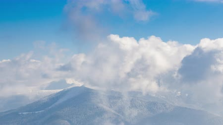 highland : Beautiful winter landscape with snow covered trees. Winter mountains. Stock Footage