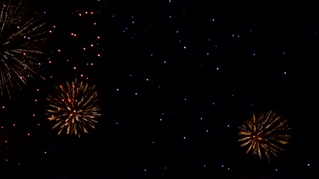залп : Bright fireworks against the night sky. Fireworks in the night sky.