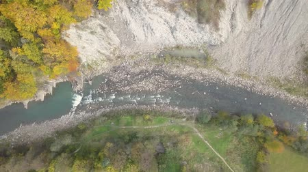 rapids : Top Down aerial view of moving river in Carpathian Mountains. Shot in Ukraine