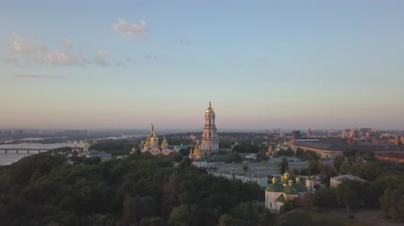 kiev : Aerial panoramic view of Kiev Pechersk Lavra churches on hills from above, cityscape of Kyiv city Stock Footage