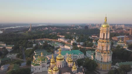 kyiv : Aerial panoramic view of Kiev Pechersk Lavra churches on hills from above, cityscape of Kyiv city Stock Footage