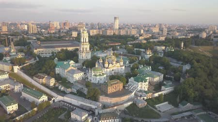chrześcijaństwo : Aerial panoramic view of Kiev Pechersk Lavra churches on hills from above, cityscape of Kyiv city Wideo