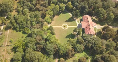 középkori : Flying on drone over famous ukranian sights - palace and park ensemble Samchiki in the village of Samchiki, Ukraine
