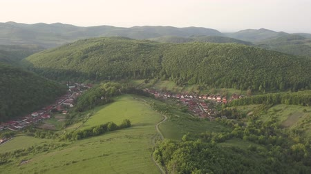 экскаватор : Aerial drone view to Bukk Mountains National Park, Hungary Стоковые видеозаписи