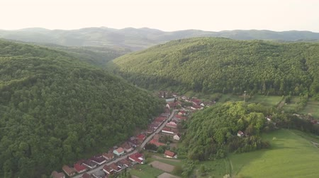 macaristan : Aerial drone view to village Bukk Mountains National Park, Hungary Stok Video
