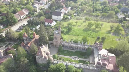romanesk : Bory Var, graceful castle built by one man Bory Jeno in the Szekesfehervar, Hungary Stok Video