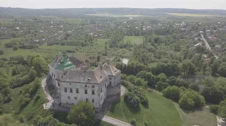 fortificação : Aerial view from drone to the historic castle and park in Olesko - famous ukrainian sightseeing, Lviv region, Ukraine