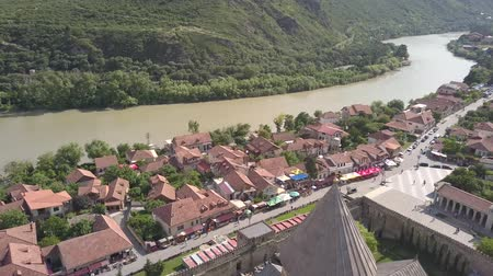 Historical touristic town of Mtskheta, near Tbilisi, Georgia? On background mountains and river Aragvi