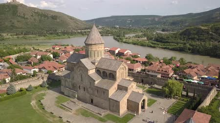Aerial Svetitskhoveli Cathedral and Mtskheta near Tbilisi Georgia Wideo