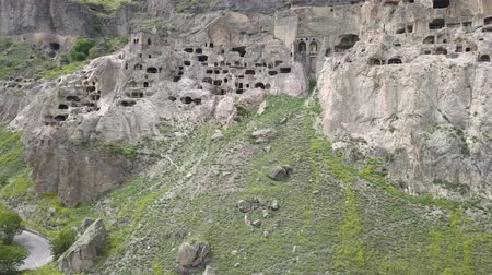 kazılmış : Aerial view of Vardzia Monastery - excavated from Mtkvari River, near Aspindza, Georgia