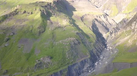 gürcü : Aerial view of a mountain near Kazbegi in Georgia, Stepantsminda village