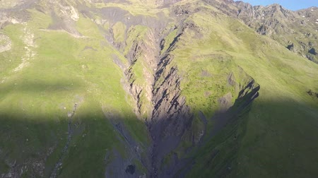Aerial view of a mountain near Kazbegi in Georgia, Stepantsminda village