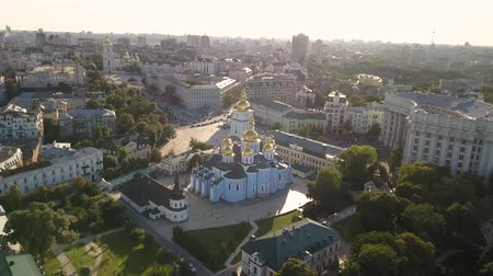 michael : Golden Domed Cathedral in the center of Kyiv. It is a functioning monastery in Ukraine Stock Footage