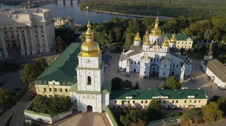 reconstructed : Golden Domed Cathedral in the center of Kyiv. It is a functioning monastery in Ukraine Stock Footage