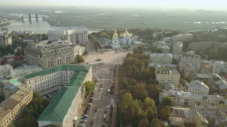 michael : Aerial view of the Golden Domed Cathedral Kiev, the capital of Ukraine Stock Footage