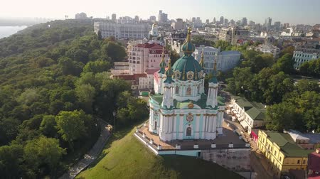 fly away : Fly away on drone from St. Andrews Church in Ukraine