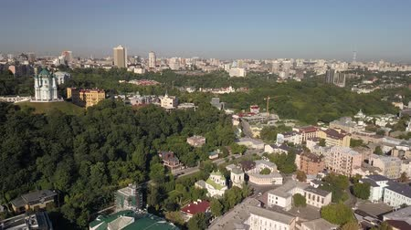 michael : Aerial view to St. Andrews Church and Andriyivskyy Descent in capital of Ukraine