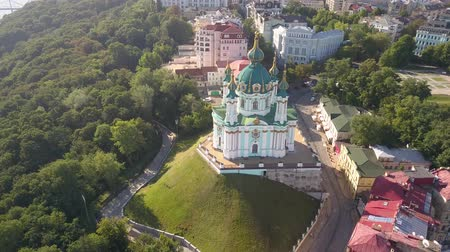 capitol : Aerial view to St. Andrews Church and Andriyivskyy Descent in capital of Ukraine