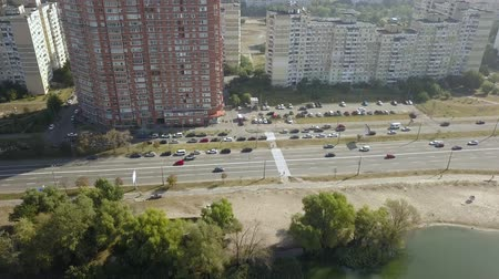 high rises : Aerial view of drone to grandiose buildings Ukraine