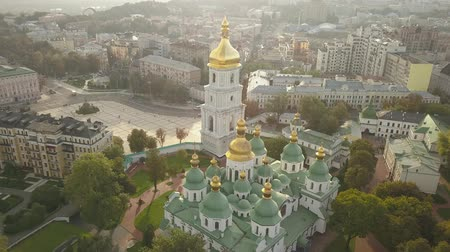 sofia : Aerial view to famous orthodox St. Sofia Cathedral at night Stock Footage