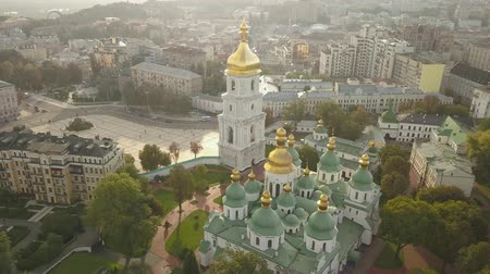 barok : Aerial view to famous orthodox St. Sofia Cathedral at night Wideo