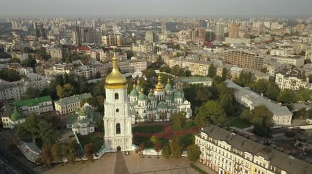 eski : Aerial view to famous orthodox St. Sofia Cathedral at night Stok Video