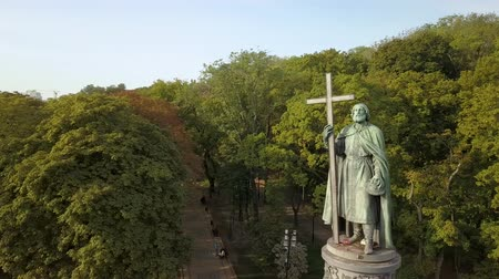 baptist : Aerial view to statue of St. Volodymyr in the city park Volodymyrska Girka, the baptist of Kyiv Rus is a symbol of the city of Kyiv. Ukraine Stock Footage