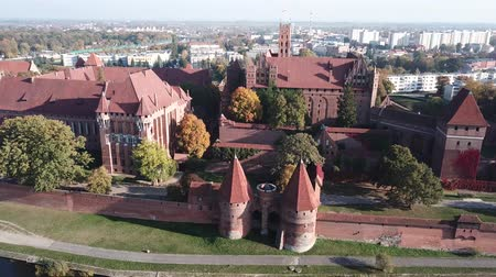 dünya mirası : Aerial view Malbork castle in Pomerania region of Poland. Teutonic Knights fortress of Marienburg.