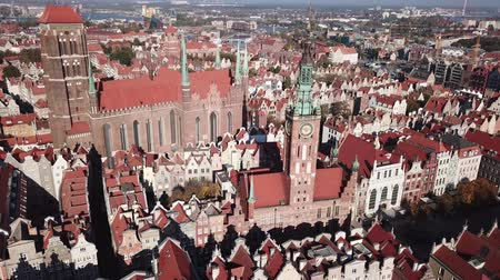 historical : Aerial view from drone on St. Mary Cathedral and City Hall in Gdansk, Poland
