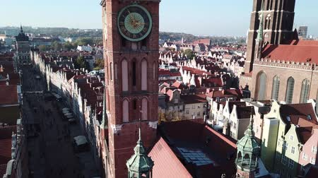 maria : Aerial view from drone on St. Mary Cathedral and City Hall in Gdansk, Poland